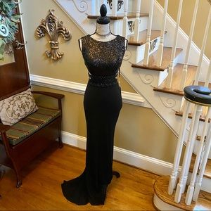 Nina Canacci black sequin & beaded evening gown